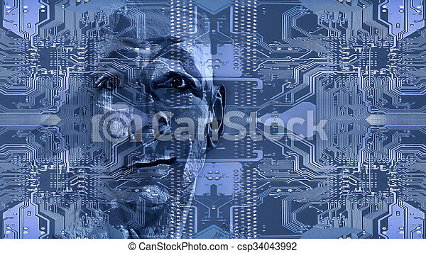 illustration concept of Circuits electronic and computer equipment and face