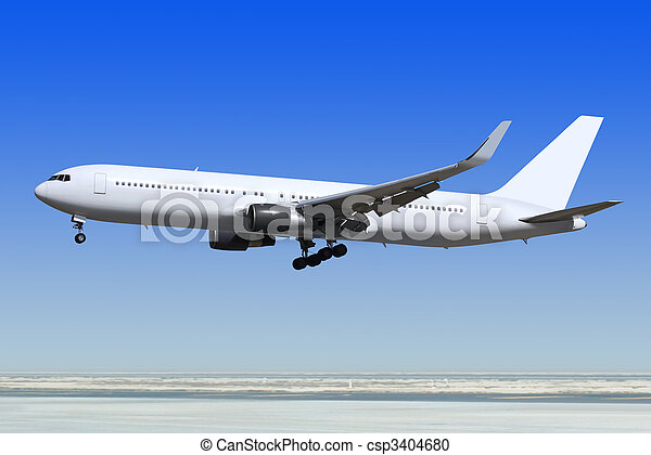 passenger airplane is landing - csp3404680