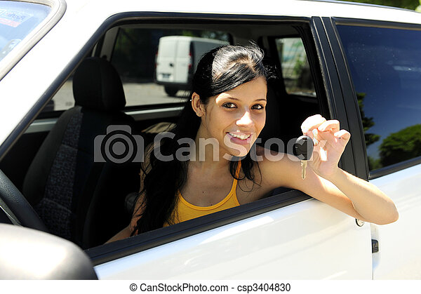 teenage girl driving her new car - csp3404830