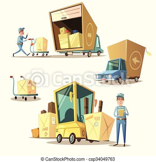 Clip Art Vector of Warehouse retro cartoon set - Warehouse concept ...