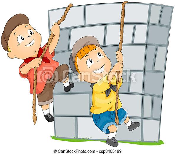 Dessin de mur, escalade - Garçon, mur, escalade csp3981254 ...