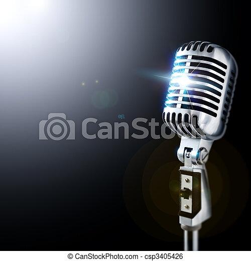 Microphone In Spotlight - csp3405426