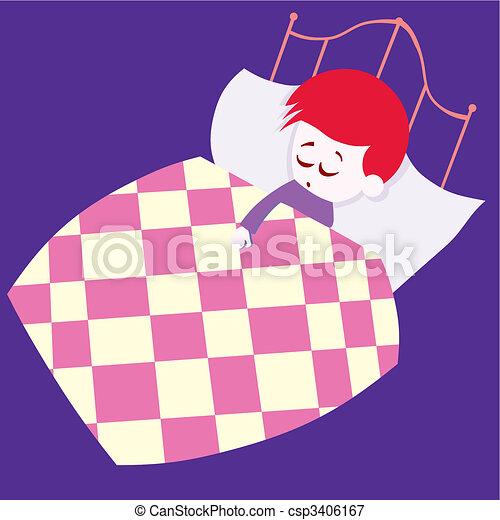 boy sleeping in his bed - csp3406167