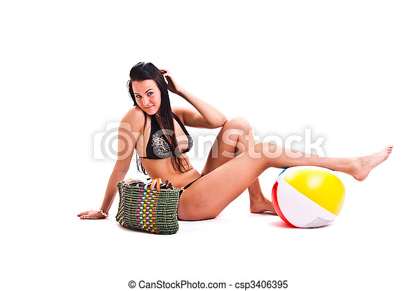 isolated photo set of the woman in swimwear - csp3406395