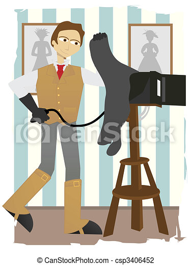 Photographer taking picture on old fashion box camera in studio - csp3406452