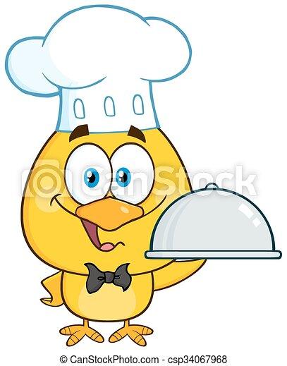 Happy Chef Yellow Chick  - csp34067968