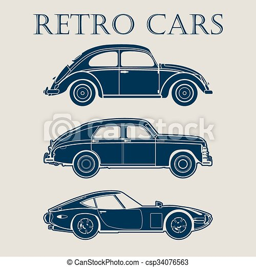 Clip Art Vector of car retro 50s 60s 70s vector poster - car retro ...