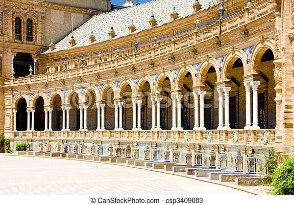Spanish Square (Plaza de Espana), Seville, Andalusia, Spain - csp3409083