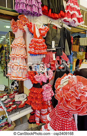 Spanish dresses, Cordoba, Andalusia, Spain - csp3409168