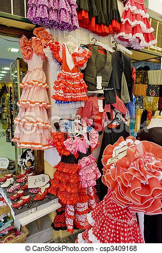Spanish dresses, Cordoba, Andalusia, Spain - csp3409168