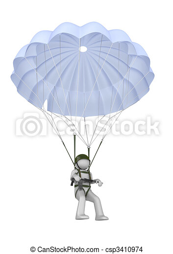 Dessin de parachutiste atterrissage fusil 3d isol - Dessin parachutiste ...