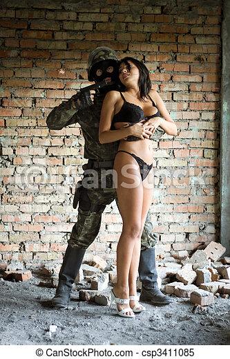 soldat, tenue, femme - csp3411085