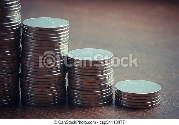 money concept coins currency baht thai with filter effect retro vintage style