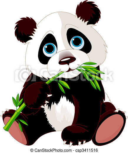 Panda eating bamboo - csp3411516