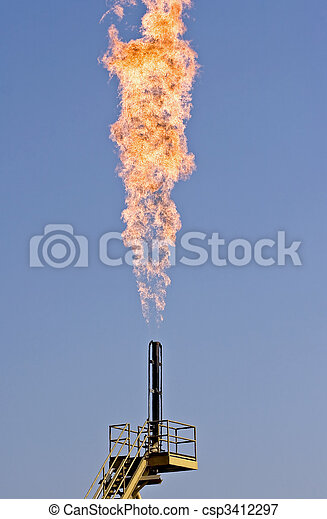 Pollution - Flare burning natural gas - csp3412297