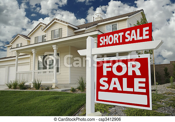 Short Sale Home For Sale Sign and House - csp3412906