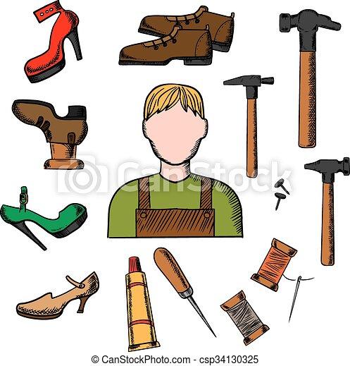 Ilustraciones de vectores de zapatero herramientas for Imagenes de zapateros