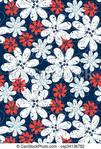 Red and white floral flowers with blue stitching - csp34136782