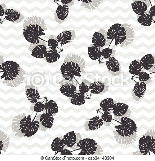 clipart vecteur de silhouette feuilles monstera exotique fond seamless csp34143304. Black Bedroom Furniture Sets. Home Design Ideas