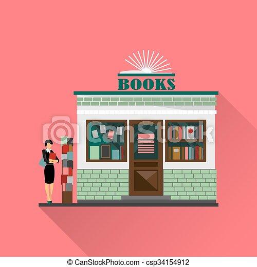 Vector Clip Art of Vector bookstore mall. Books shop building ...