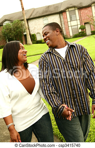 African American Couple Doing Evening Walk
