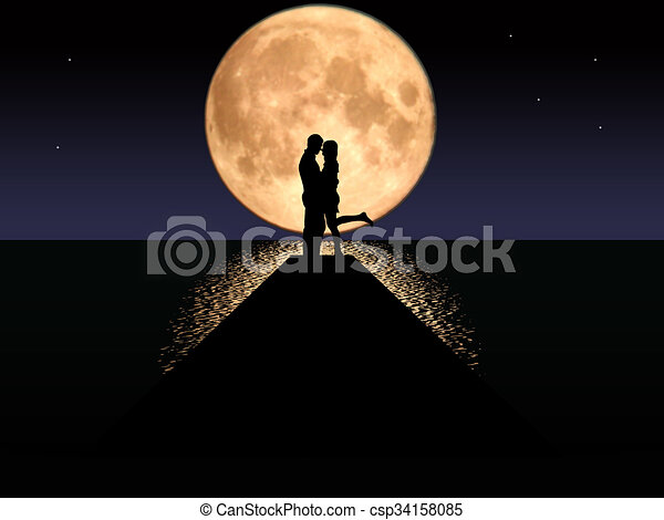 Moonset Couple - csp34158085