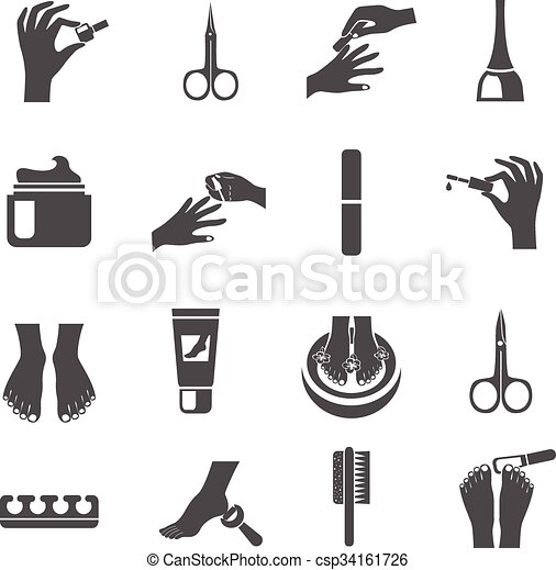vector illustration of manicure and pedicure black icons