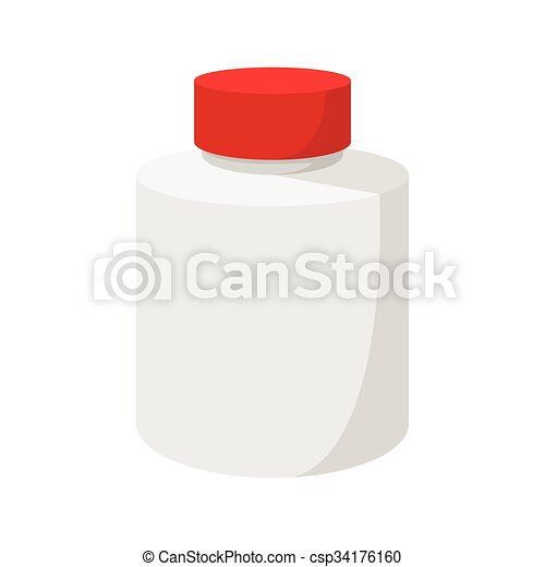 White blank plastic bottle with red cap icon - csp34176160
