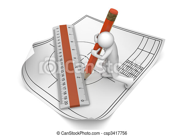 Engineer drawing with pencil and ruler - csp3417756
