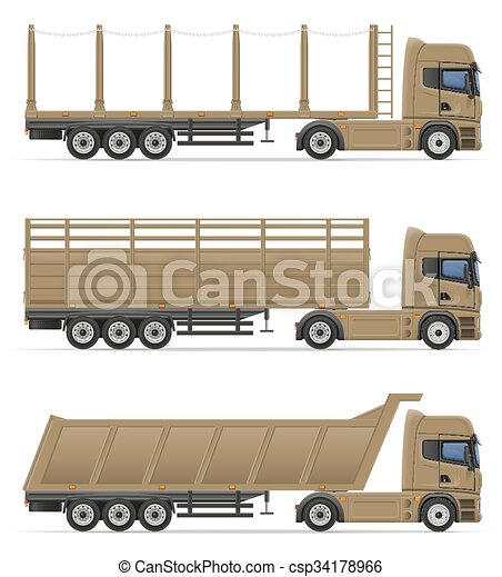 Clip Art Vecteur de marchandises, transport, semi ...