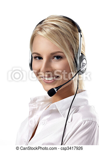 Beautiful representative smiling call center woman with headset. - csp3417926