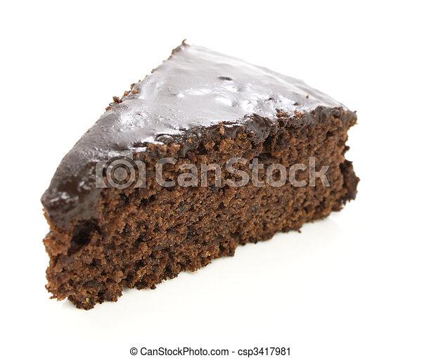 Slice of chocolate cake - csp3417981