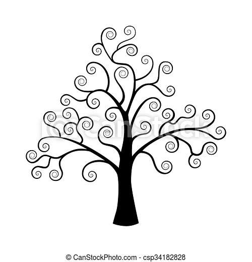 Illustration vecteur de silhouette arbre isol arri re plan noir blanc the - Dessin arbre simple ...