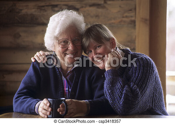 Elderly mother and middle-aged daughter - csp3418357