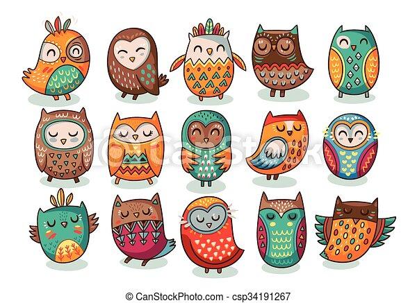 Set of tribal owls - csp34191267