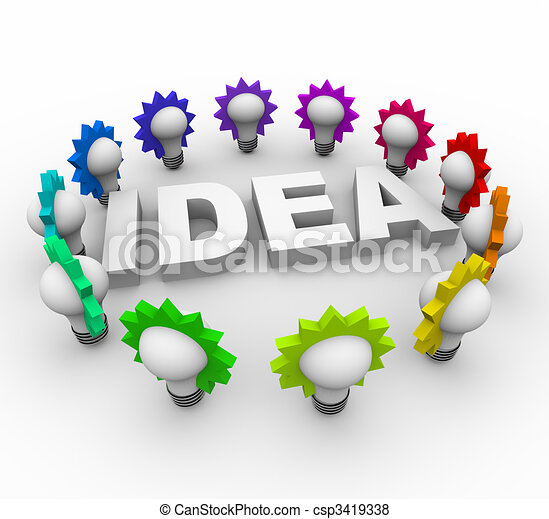 Idea Word Surrounded by Light Bulbs - csp3419338