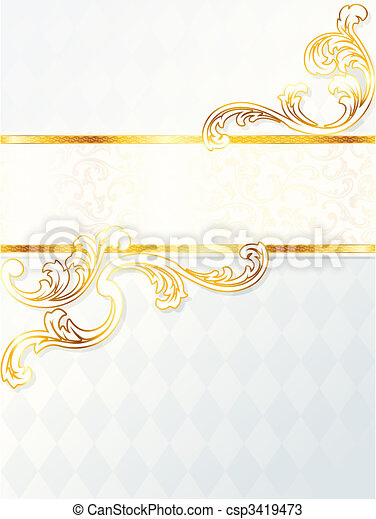 Beautiful vertical rococo wedding banner - csp3419473