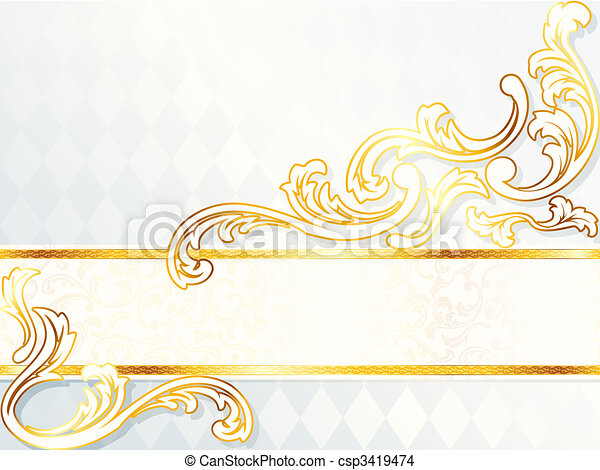 Beautiful horizontal rococo wedding banner - csp3419474