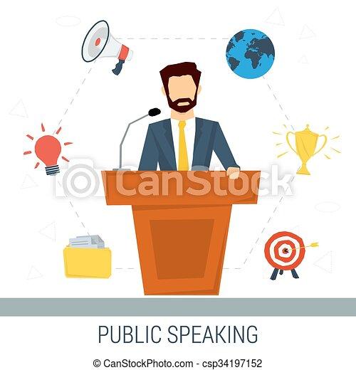 Public speaker from tribune - csp34197152
