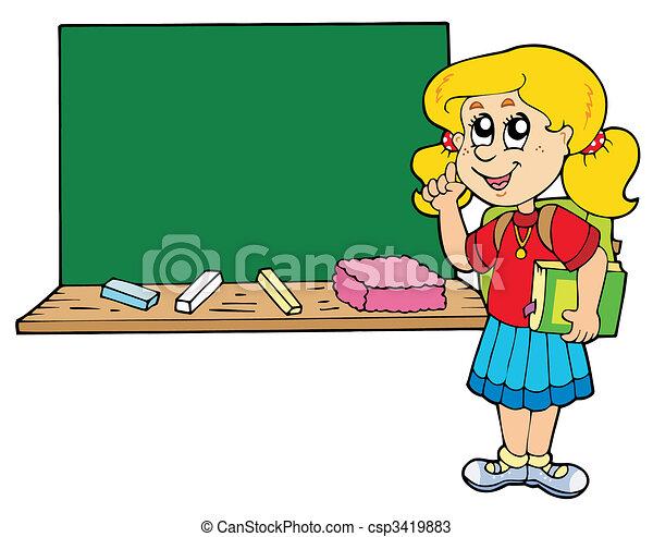 Escuela, niña, con, libro, vector Imágenes y almacen de fotos. 1 ...