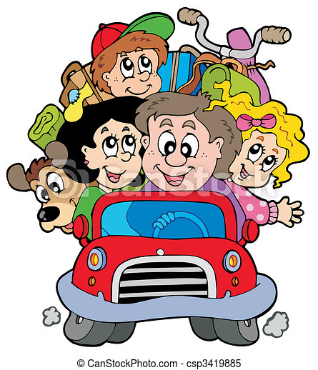 Happy family in car on vacation - csp3419885