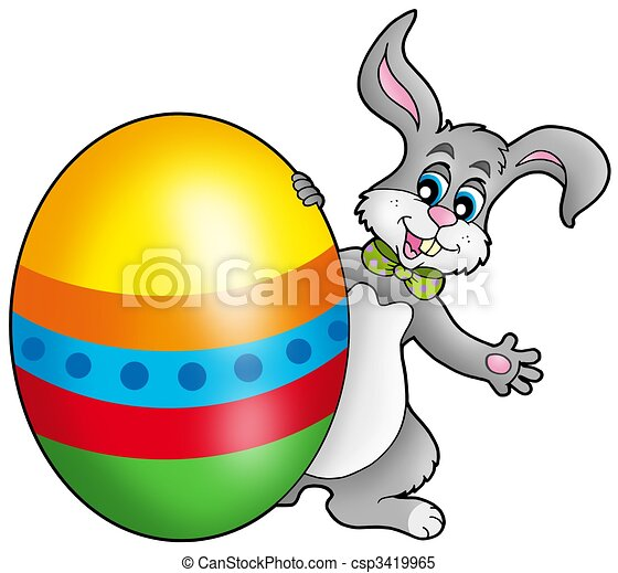 Easter bunny with colorful egg - csp3419965