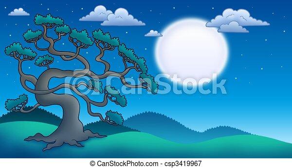 Stock de ilustraciones de noche, paisaje, viejo, pino, árbol ...