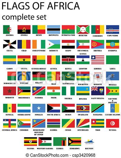 Bandiere africa completo set bandiere originale colori sopra