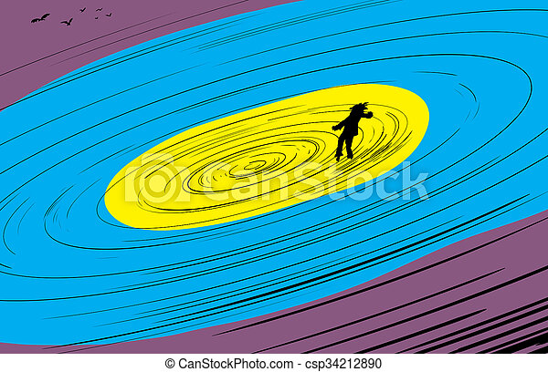 Floating Figure and Birds in Spiral - csp34212890