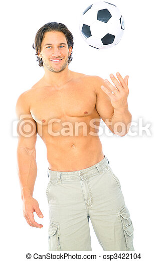Fitness Male Model Throwing Soccer Ball - csp3422104