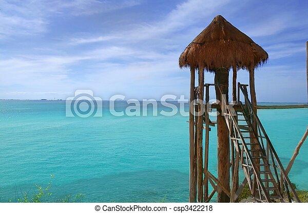 caribbean sea wooden cabin Isla Mujeres Mexico - csp3422218
