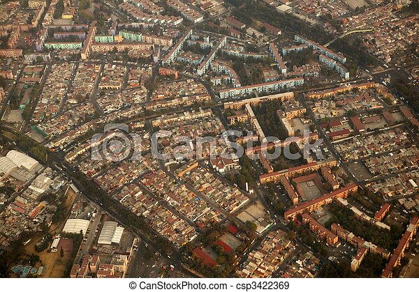 mexico df city town aerial view from airplane - csp3422369