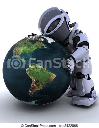 cute robot cyborg - csp3422866