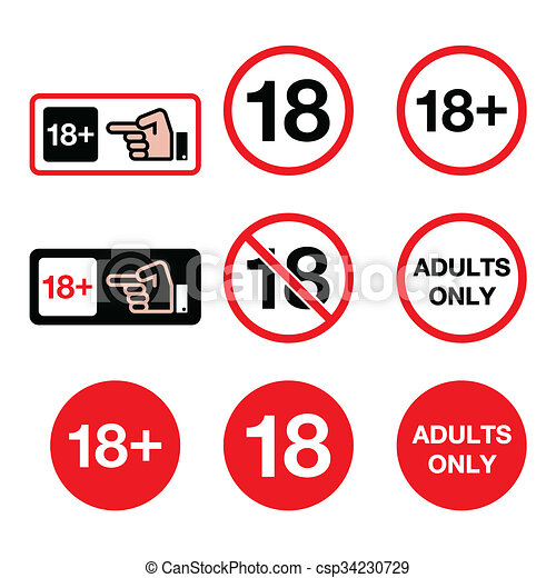 clip art of under 18 adults only warning sign attention